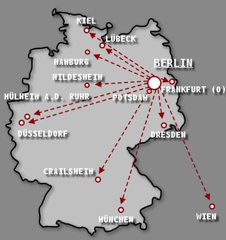 Den Hauptdarstellern rennt man oft hinterher: Städte, in denen ich bisher fotografiert habe.  Vor allem die DBL ist weit gestreut... Weiteste Reise: Wien (681km Route, 523km Luftlinie)